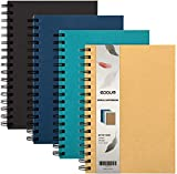 EOOUT 4 Pack A5 Spiral Notebook, Hardcover College Ruled Notebooks, 3 Subject Notebook with Removable dividers, 4...