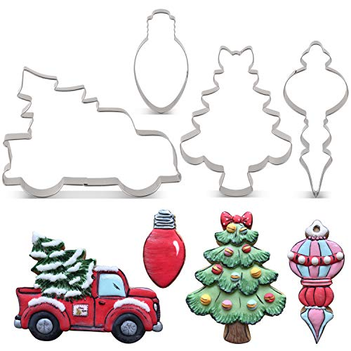 LILIAO Christmas Cookie Cutter Set - 4 Piece - Pickup Truck with Christmas Tree, Christmas Tree with Bow, Light Bulb and Christmas Ornament Biscuit Fondant Cutters - Stainless Steel