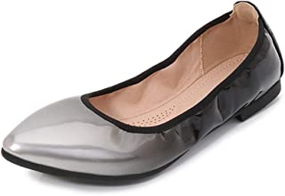 Women's Pointed Toe Flat Shoes, Large Size 1Cm High Heel Sole Very Soft Gradient Single Shoes Suitable for Daily and Hiking Wear Will Not Be Tired All Day