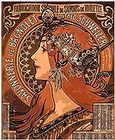 大人のための数字で描くDIY油絵子供初心者アクリル絵画キット抽象芸術家の装飾マリア・ミュシャ-干支40x50cmフレームレス