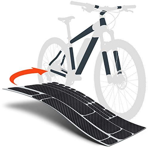 Luxshield E Bike Lackschutzfolie für eBike, Pedelec, Elektro Fahrrad, E-Bike, MTB etc. - 20-teiliges Rahmen-Set gegen Steinschlag - Carbon Optik & selbstklebend
