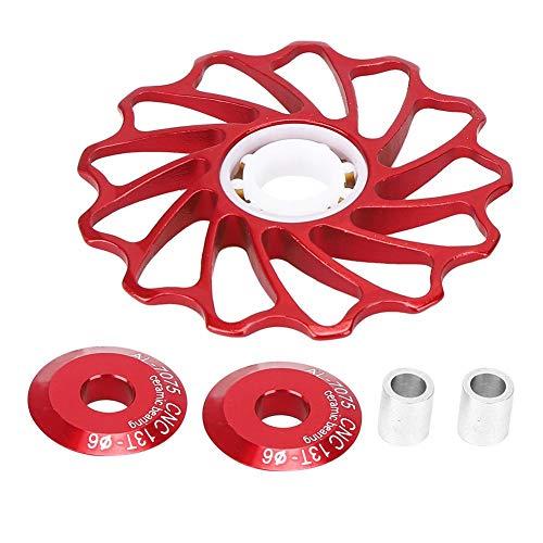 Vbest life Rodillo de guía de polea de Cambio Trasero 13T rodamiento de cerámica Rodillo de guía de polea de Rueda de guía de Bicicleta para Bicicleta de Carretera(Rojo)