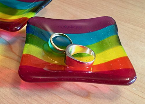 Small Rainbow Fused Glass Dish/Ring Tray