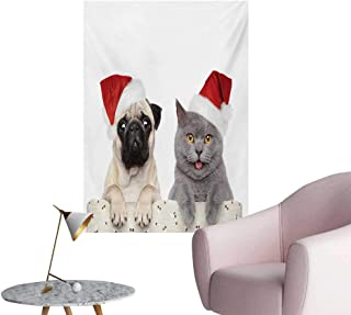 Anzhutwelve Pug Corridor/Indoor/Living Room Christmas Themed Animal Photography with a Cat and Dog Wearing Santa Hats PrintGrey Cream Red W20 xL28 Poster Paper