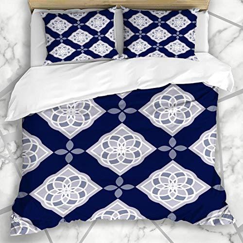 Soefipok Bettbezug-Sets Retro Fayence Portugiesisch Azulejo Fliesen Blau Weiß Wunderschöne Keramik Geo Vintage Adha Eid Andalusien Mikrofaser Bettwäsche mit 2 Kissenbezügen