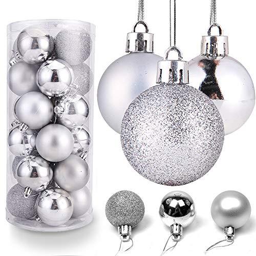 O-Kinee Bolas de Navidad Plata, 24PCS Bolas para Arbol de Navidad, Decoracion Arbol Navidad, Adornos Arbol Navidad, 4 cm