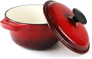 SHUHAO Ollas de Hierro Fundido, de Hierro Fundido esmaltado Olla con Tapa y perillas Incluido, Natural Antiadherente cocción Lenta Esmalte de jugos de Utensilios de Cocina,18cm,Rojo