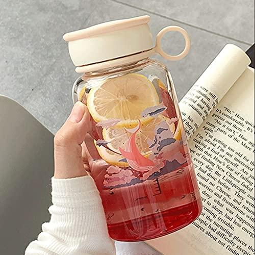QHLOM Capacidad de la Jarra de Agua de Vidrio Resistente al Calor 11.8/16.2 onzas con la Tapa, Botella de Bebida de té de Hielo de Zumo de Agua fría/Caliente (Color : Gradient Pink, tamaño : 480ml)