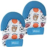 PBnJ baby Silicone Infant Teething Mitten Teether Glove Mitt Toy with Travel Bag-Sports 2pk