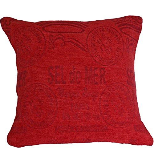 45,7 cm 45 cm Housse de coussin chenille rouge Sel de mer