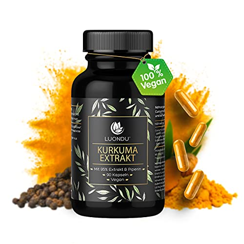 Kurkuma Kapseln - 90 Curcuma Extrakt Kapseln extra hochdosiert & Vegan - Bio Kurkuma Pulver, Piperin und schwarzer Pfeffer I Curcumin Gehalt enspricht 10.000mg Kurkuma - 95%...