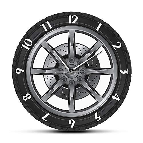 Auto Service Custom Name Uhr Reparatur Reifen Rad Vintage Coole Wanduhr Auto Werkstatt Mechaniker Geschenk Zimmer dekorative Clock-Normal_Design_12_inch