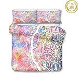 Mandala Bettbezug Bettwäsche Set, Morbuy 3D Muster Bettwäsche-Set Mikrofaser Weiche mit Reißverschluss Bettbezug und Kissenbezüge für Junge Mädchen (180x220cm,Rosa Blume)