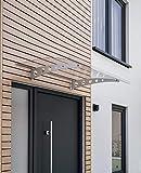 Schulte 4037563124146 auvent Sunny 2, marquise de porte d'entrée en polycarbonate, fixation en acier galvanisé, Argenté, 140x90 cm