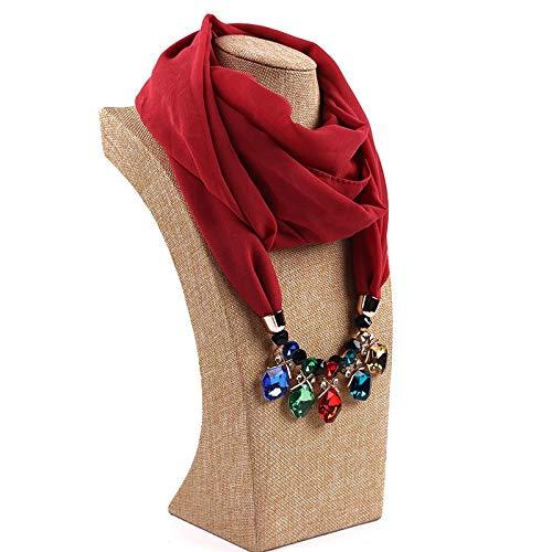 Xu Yuan Jia-Shop Mode Schal Schmuck Anhänger Halsketten Schal Solide Chiffon Hijab Perlen Schmuck Rundkreis Anhänger Schal Frauen Dekorativer Halstuch Valentinstag Gift (Color : D)