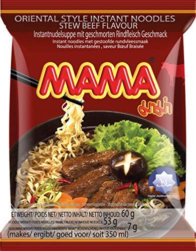 MAMA Instantnudeln mit Rindfleischgeschmack – Instantnudelsuppe orientalischer Art – Authentisch thailändisch kochen – 30 x 60 g
