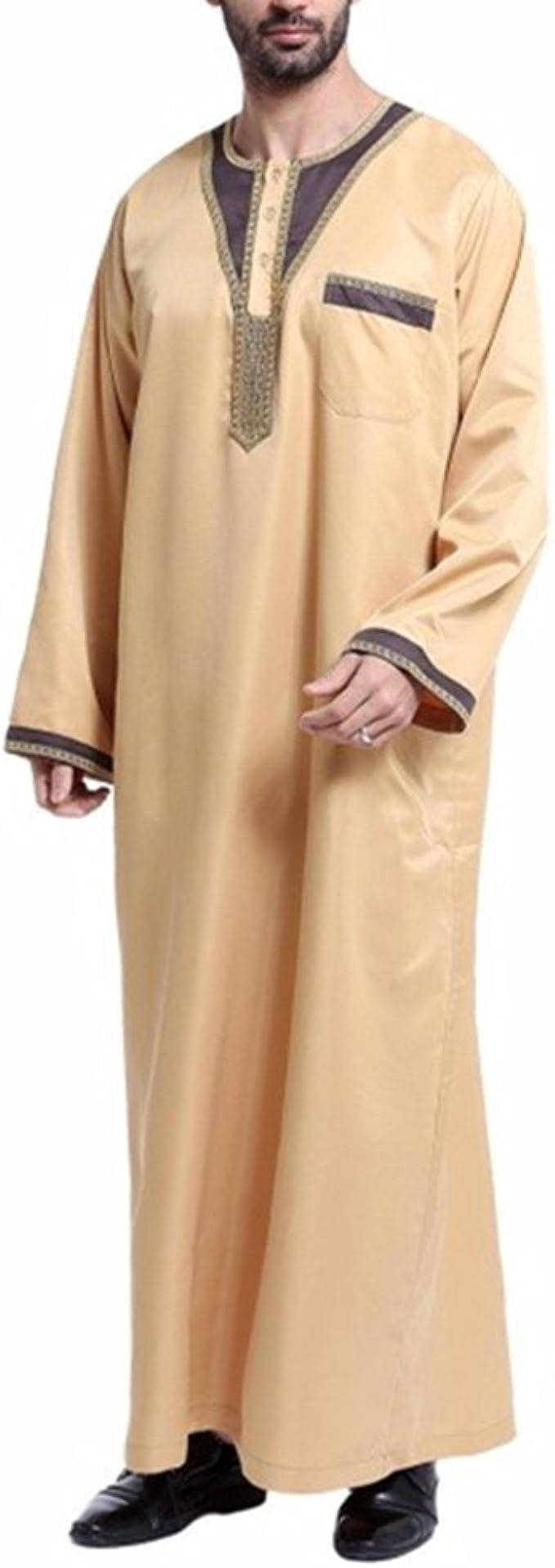 zhbotaolang Ropa Musulmana para Hombres Camisa de Vestir Masculina Islámica árabe con Bordados S-XXXL