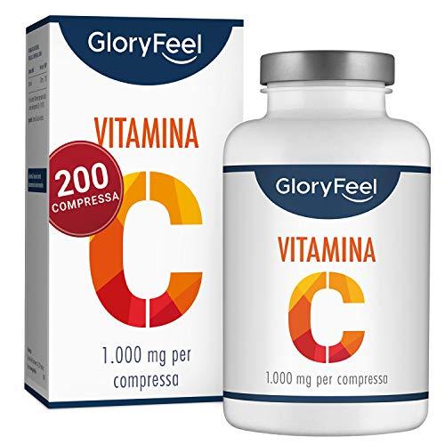 GloryFeel® Vitamina C 1000mg ad Alto Dosaggio - VINCITORE DEL CONFRONTO 2019* - 200 Compresse Vegane - Fino a 7 Mesi di Trattamento - Clinicamente Testato e Senza Additivi