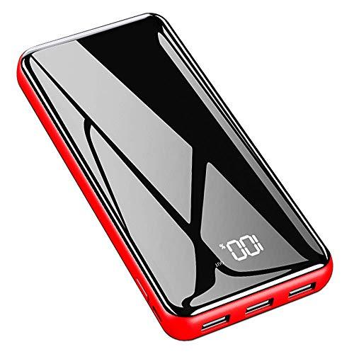 Gnceei Powerbank 25000mAh 2019 Neu Glasoberflächen Externer Akku mit 2 Eingänge und 3 Ausgänge Handy Power Bank für Smartphones, Android-Telefon, Tablett-Rot