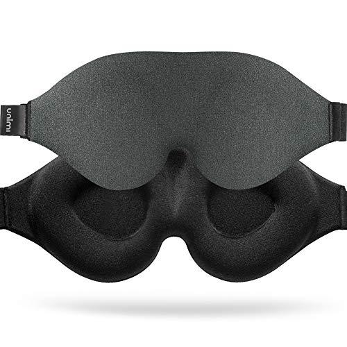 Slaapmasker, Unimi Upgrade 3D-contouren Cup Oogmasker & blinddoek, Traagschuim Oogschaduw met verstelbare riem, 100% lichtblokkerend slaapmasker voor dames Mannen, Oogmasker voor slapen / reizen / Yoga meditatie