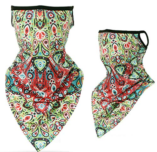 Face Bandana Ear Loops Face Rave Balaclava Scarf Neck Gaiters for Dust Wind Motorcycle Mask Men and Women Print #19