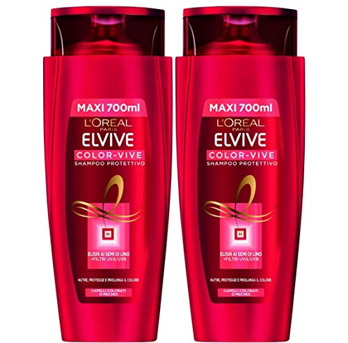L'Oréal Paris Shampoo Protettivo Elvive Color-Vive, Adatto per Capelli Colorati o Meches, 700 ml, Confezione da 2