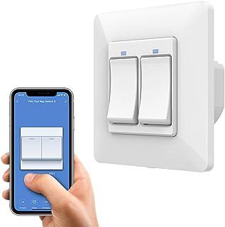 Orbecco inteligentny przełącznik światła WiFi, inteligentny przycisk 2 gang 1-drożny przełącznik kompatybilny z Alexa, Goo...