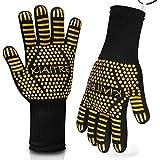 Kiaitre Grill Gloves 1472°F Extreme Heat Resistant - Flexible Oven Gloves 12.5' Silicone Non-Slip...