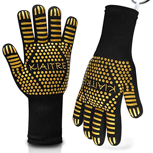 """Kiaitre Grill Gloves 1472°F Extreme Heat Resistant - Flexible Oven Gloves 12.5"""" Silicone Non-Slip BBQ Grilling Gloves for Cooking Barbecue Baking, Long Sleeve for Extra Wrist Protection(1 Pair)"""