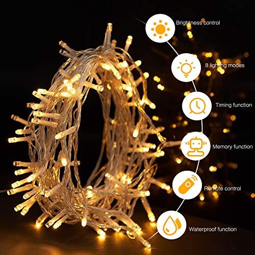 SUNNEST 100 LED Lichterkette mit Fernbedienung und Timer, 8 Modi Dimmbar Outdoor Weihnachtslichterkette Batteriebetrieben, 10m, Warmweiß für Weihnachten Hochzeit Geburtstag Holiday Party Zimmerdeko.