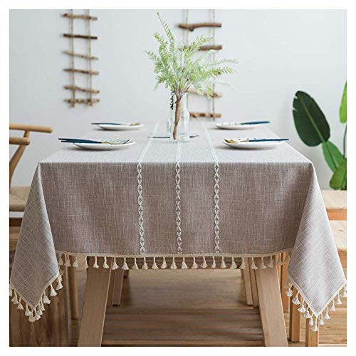 SHBV Rectangular tablecloth 110x290cm cotton and linen tablecloth with lace tassels for tablecloth washable kitchen tablecloths Easy to clean dining party decorative tablecloth