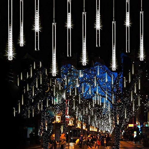 Syka Falling Rain Lights White, Meteor Shower Lights with 11.8 inch 8 Tubes 144 LEDs Rain Drop Lights, Outdoor Icicle...