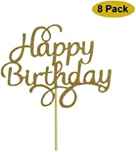 Happy Birthday Cake Topper Decoration Gold Glitter 8 Pack