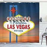 ABAKUHAUS Vereinigte Staaten von Amerika Duschvorhang, Fabulous Las Vegas Nevada, Wasser Blickdicht inkl.12 Ringe Langhaltig Bakterie & Schimmel Resistent, 175 x 200 cm, Tan Blau