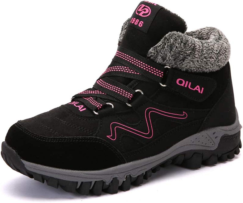 Women's shoes, Cotton Plus Velvet Keep Warm Sneaker Ladies Winter Outdoor Lace-up Hiking shoes (color   D, Size   42)