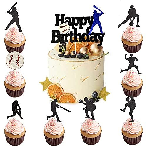 25PCS Baseball Cake Topper Happy Birthday Glitter Black Baseball Sports Cupcake Topper for Kids Boys Girls Men Birthday Baseball Sports Party Theme Decoration