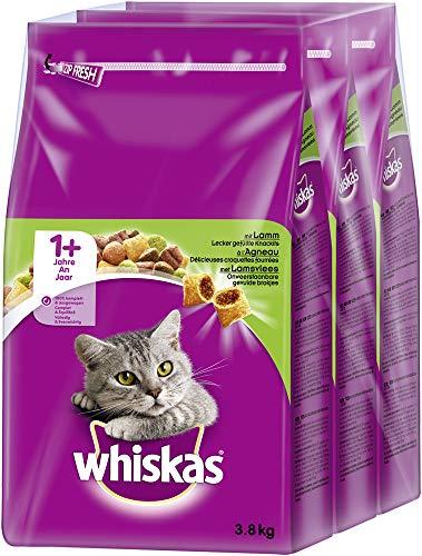 Whiskas Katzenfutter Trockenfutter Adult 1+ mit Lamm, 3 Beutel (3 x 3,8kg)