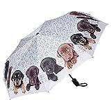 VON LILIENFELD Regenschirm Taschenschirm Welpen Kinderschirm Stabil Leicht Auf-Automatik Hund Motiv Welpenquartett