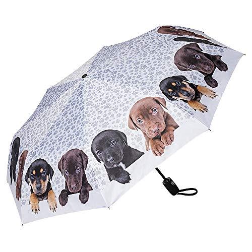 VON LILIENFELD Paraguas Bolsillo Plegable Ligero Estable Abrir y Cerrar Automático Compacto Perro Cuarteto de Cachorros