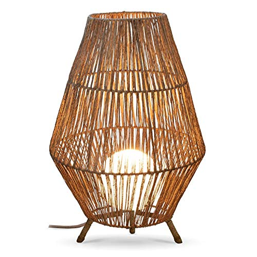 Sisine-Lámpara de pie exterior con cable de yute y mando a distancia, diámetro 48 cm, altura 70 cm, color natural