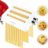 Pasta Maker Attachments for KitchenAid Stand Mixers, COFUN 3 in 1 Stainless Steel Pasta Maker Attachments Includes Pasta Sheet Roller, Spaghetti Cutter, Fettuccine Cutter and Cleaning Brush