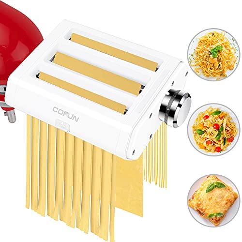 Pasta Maker Attachments for KitchenAid Stand Mixers, COFUN 3 in 1...