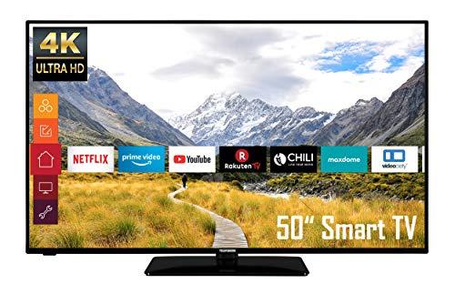 Telefunken 50 Zoll Smart TV - D50U550B4CW - 4K UHD Fernseher mit HDR Dolby Vision & HDR10 - Triple Tuner - Works with Alexa, Schwarz