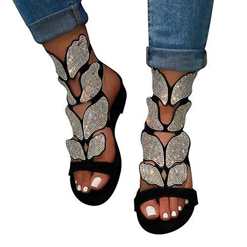 Sandalias planas de diamantes de imitación para mujer, vestido de tobillo romano...