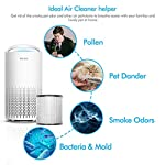 HOKEKI Air Purifier for Large Room with Air Quality Auto Sensor, True HEPA Air Cleaner Filter, 5-in-1 Odor Eliminator… 13 【Smart Air Quality Sensor & Indicator】This air freshener features unique AQ interface, built-in air quality sensor detects air quality at work, the interface will continuously diagnose the air and display the air quality level (blue-green-orange-red). you can adjust cleaning performance depending on the air quality. When the filters indicators light up, it is recommended to replace your filter every 4230 hours. 【5 in 1 Air Filter System】 3 speeds and 2 modes adjustment (low, medium, high speed, auto and sleep modes)in one button. In sleep mode, the noise is less than 29 dB, maximum noise below 52 dB at high speed. It is perfect for using in living rooms, bedrooms, children's rooms and offices. 【True HEPA Air Purifier】Equipped with pre-filter, HEPA filter, an activated carbon filter, easy to capture up dust, smoke, odor, pet dander and cooking around your living space and zero Ozone emission. The VK-6067B is suitable for rooms up to 18-31m², and the cleaning performance CADR (Clean Air Delivery Rate) is 220m³ / h3 fan speed and auto mode meet your needs.