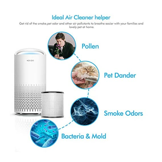 HOKEKI Air Purifier for Large Room with Air Quality Auto Sensor, True HEPA Air Cleaner Filter, 5-in-1 Odor Eliminator… 5 【Smart Air Quality Sensor & Indicator】This air freshener features unique AQ interface, built-in air quality sensor detects air quality at work, the interface will continuously diagnose the air and display the air quality level (blue-green-orange-red). you can adjust cleaning performance depending on the air quality. When the filters indicators light up, it is recommended to replace your filter every 4230 hours. 【5 in 1 Air Filter System】 3 speeds and 2 modes adjustment (low, medium, high speed, auto and sleep modes)in one button. In sleep mode, the noise is less than 29 dB, maximum noise below 52 dB at high speed. It is perfect for using in living rooms, bedrooms, children's rooms and offices. 【True HEPA Air Purifier】Equipped with pre-filter, HEPA filter, an activated carbon filter, easy to capture up dust, smoke, odor, pet dander and cooking around your living space and zero Ozone emission. The VK-6067B is suitable for rooms up to 18-31m², and the cleaning performance CADR (Clean Air Delivery Rate) is 220m³ / h3 fan speed and auto mode meet your needs.