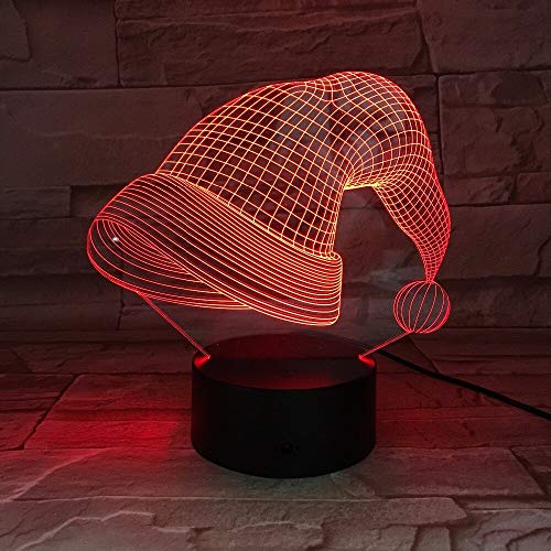 Jiushixw 3D acryl nachtlampje met afstandsbediening kleur tafellamp kerstmuts kindertafel lanpala baby met camera tafellamp