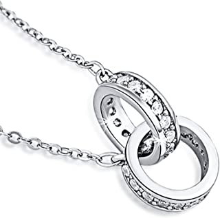 Furious Jewelry 925 Sterling Silver Interlocking Double Circles Pendant Neaklace