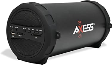 AXESS SPBT1041 Portable Thunder Sonic Bluetooth Cylinder Loud Speaker with Built-In FM Radio, SD Card, USB, AUX Inputs in Black