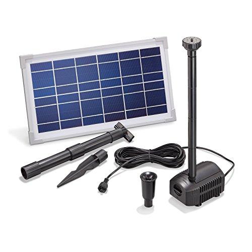 Solar Teichpumpe 8 Watt Solarmodul 380 l/h Förderleistung 70 cm Förderhöhe esotec Professional Produktserie Komplettset Springbrunnen Gartenteich, 101910